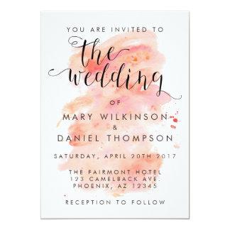 Pink Watercolor Background Wedding Invitation