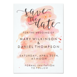 Pink Watercolor Background Wedding Save the Date Card