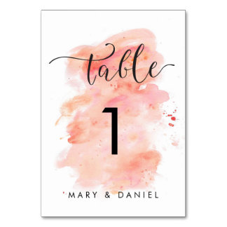 Pink Watercolor Background Wedding Table Number