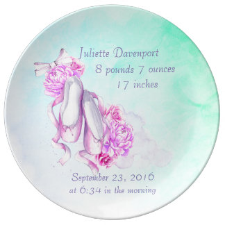 Pink Watercolor Ballet Shoes New Baby Plate