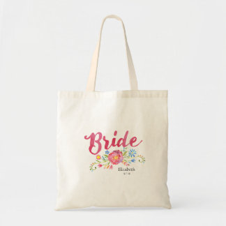 Pink Watercolor Bride Bag with Colourful Flowers