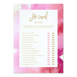 Pink Watercolor Bride He Said She Said Game Card 13 Cm X 18 Cm Invitation Card