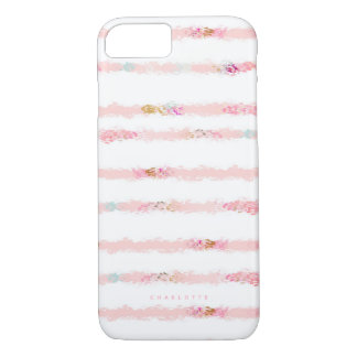 Pink Watercolor Brush Strokes Stripes Personalised iPhone 8/7 Case