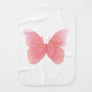 Pink watercolor butterfly burp cloth