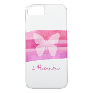 Pink Watercolor Butterfly Personalized iPhone 8/7 Case