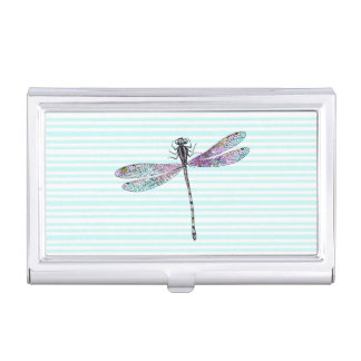 Pink Watercolor Cute Dragonfly Vintage Stripes Business Card Holder