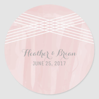 Pink Watercolor Deco Wedding Classic Round Sticker