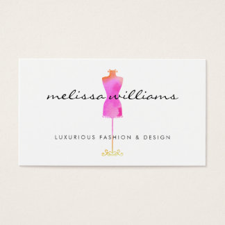Pink Watercolor Dress Mannequin Fashion Boutique Business Card