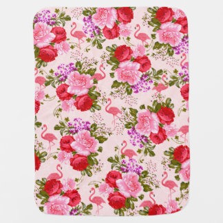 Pink watercolor elegant flamingo vintage floral receiving blankets