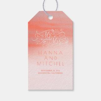 Pink Watercolor Elegant Typography White Wedding