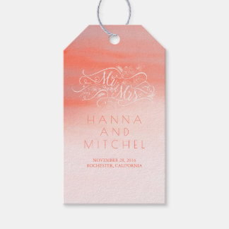 Pink Watercolor Elegant Typography White Wedding Gift Tags