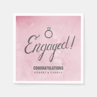 Pink Watercolor Engagement Party Napkins Disposable Napkins