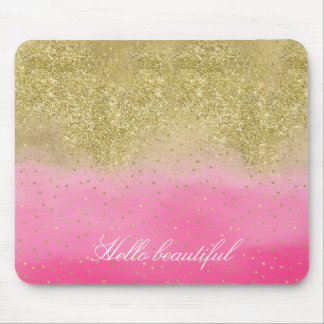 Pink Watercolor Faux Gold Glitter Beautiful Mouse Pad