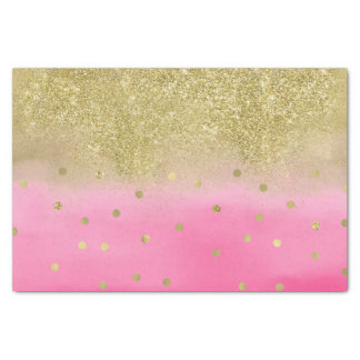 Pink Watercolor Faux Gold Glitter Confetti Tissue Paper