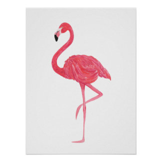Pink Watercolor Flamingo Print Poster