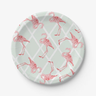 Pink Watercolor Flamingos with Diamond Pattern 7 Inch Paper Plate