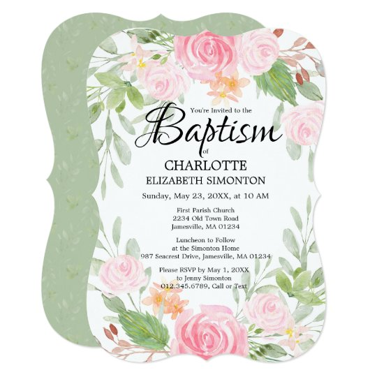 Pink Watercolor Floral Baptism Invitations