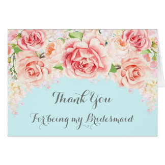 Pink Watercolor Floral Blue Thank You Bridesmaid Card