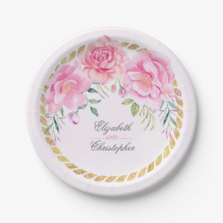 Pink Watercolor Floral Bouquet Wedding 7 Inch Paper Plate