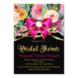 Pink Watercolor Floral Bridal Shower Card