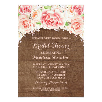 Pink Watercolor Floral Brown Wood Bridal Shower Card