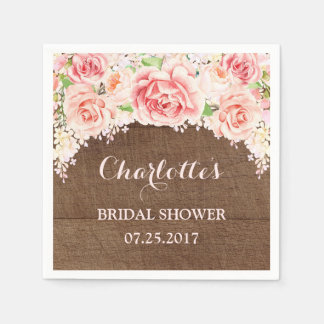 Pink Watercolor Floral Brown Wood Bridal Shower Paper Serviettes