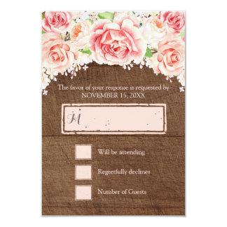 Pink Watercolor Floral Brown Wood Wedding RSVP Card