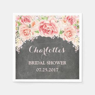Pink Watercolor Floral Chalkboard Bridal Shower Disposable Serviette