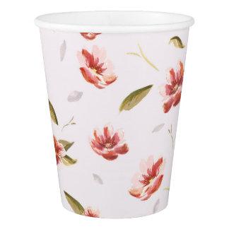Pink Watercolor Floral Garden Paper Cup