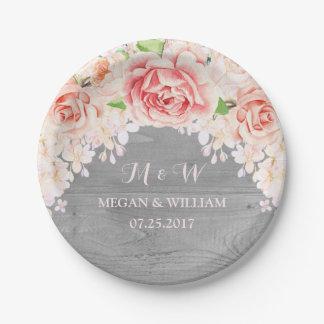 Pink Watercolor Floral Grey Wood Wedding Plate