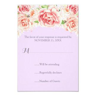Pink Watercolor Floral Lavender Wedding RSVP Card