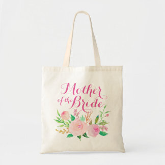 "Pink Watercolor Floral ""Mother of the Bride"" Budget Tote Bag"