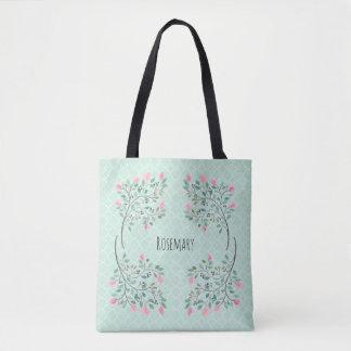 Pink Watercolor Floral on Aqua Quatrefoil Tote Bag