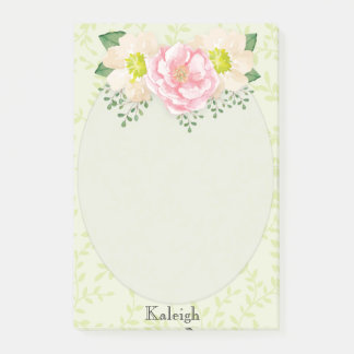 Pink Watercolor Floral on Greenery Post It Notes