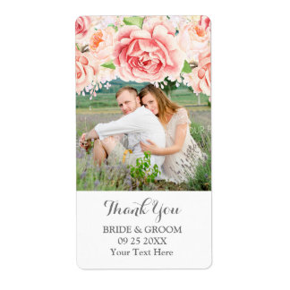 Pink Watercolor Floral Photo Wedding Label