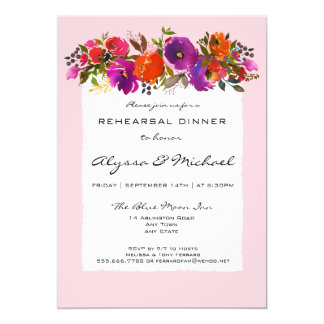 Pink Watercolor Floral Rehearsal Dinner Invitation