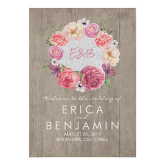 Pink Watercolor Floral Rustic Wedding Welcome Sign Poster