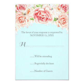 Pink Watercolor Floral Sky Blue Wedding RSVP Card