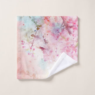 Pink Watercolor Floral Wash Cloth