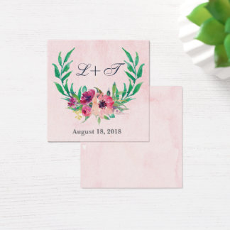 Pink Watercolor Floral Wedding Name Plate Card