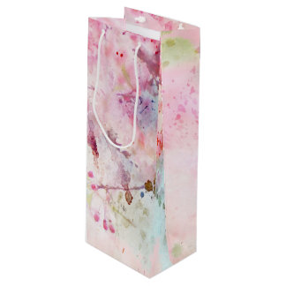 Pink Watercolor Floral Wine Gift Bag