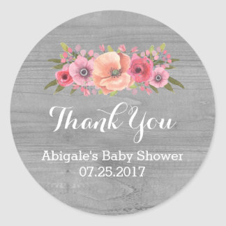 Pink Watercolor Floral Wood Baby Shower Favor Tags Round Sticker