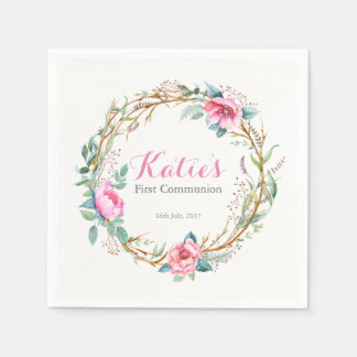 Pink Watercolor Floral Wreath Party Napkins Disposable Napkin