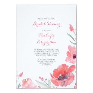 Pink Watercolor Florals Cute Bridal Shower 5x7 Paper Invitation Card