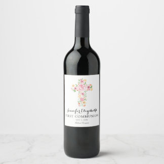 Pink Watercolor Flower Cross First Holy Communion Wine Label