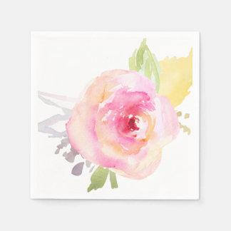 Pink Watercolor Flower Disposable Serviette
