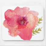 Pink Watercolor Flower Mouse Pad