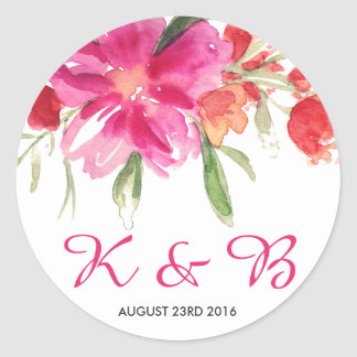 Pink Watercolor Flower Posy Monogram Sticker