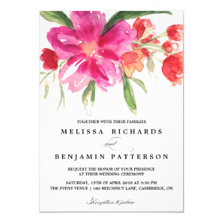 Pink Watercolor Flower Posy Wedding Invitation