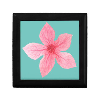 pink watercolor flower small square gift box